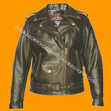 Ladies Women Retro Brown Old School Vintage Leather Motorcycle Biker Jacket Coat