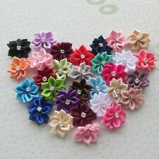20pcs Satin Ribbon Flowers Bows Rose Wedding Appliques Crafts Decoration ZXA54