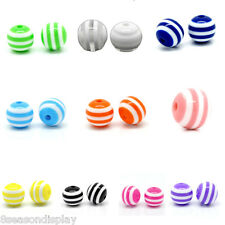 """100PCs Resin Spacer Beads Round Striped 10mm(3/8"""") M1257"""
