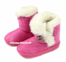 Hot Pink White Fur Metal Button Winter Calf Girl Kids Slip On Snow Boot Shoes