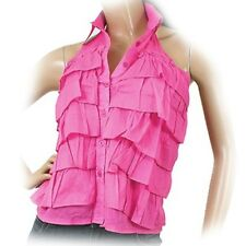 NEW Womens PINK Multi LAYER LAYERED TIER Sleeveless Collared HALTER TOP Clothing