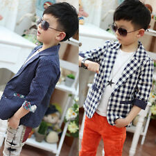 Kids Toddlers Boys Fashion Plaid Check Dots Casual Suit Jacket Coat Costume 2-7Y