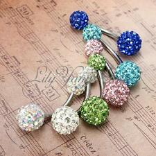 Navel Belly Button Bar Ring Barbell Rhinestone Crystal Ball Body Piercing HOT