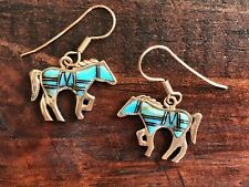 Horse Earrings | Bronze & Semiprecious Stone | Drop/Dangle Hook | Made in USA