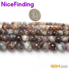 "faceted round botswana agate gemstone beads strand 15"" 4mm 6mm 8mm 10mm 12mm"