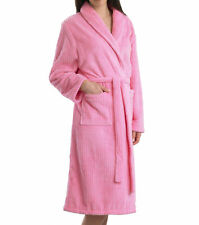 Slenderella Fleece Long Sleeve Ribbed Striped Dressing Gown Ladies House Coat