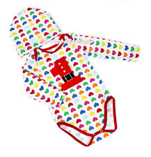 Infant XMAS Santa Claus 1ST Red Rainbow Hearts Baby Jumpsuit Hat Set NB-12Month