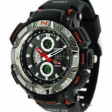C6 US OHSEN Mens Sports Silicone Wrist Watch Black Red Analog LCD Boys Wacthes