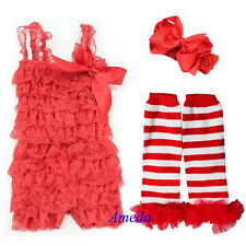 Newborn Baby Red Lace Petti Romper Xmas White Warmer Bow Headband 3pcs NB-3Y