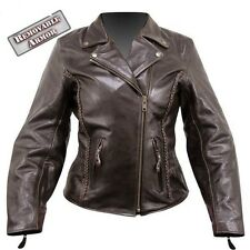 Womens Armored Braided Brown Vented Leather Motorcycle biker Jacket S,M,L,XL,2XL