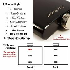 personalised engraved Hip flask 6 oz stainless steel and Genuine leather options