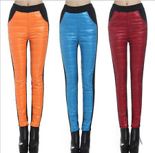 New Women's Winter Warm Slim Fit Two-Tone Down Cotton /Cashmere Trousers Pants