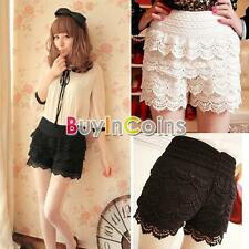 Casual Sweet Womens Shorts Cute Crochet Tiered Lace Shorts Skirts Short Pants