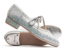 Girls Ladies Silver Glitter Low Heel Tap Dance Shoes With Tap Plates By Katz