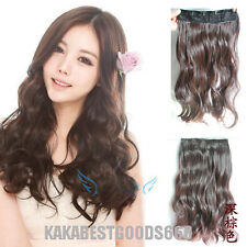 Fashion Style Women Long Wavy Onepiece Clip in on Hair Extensions 6 colors FP19