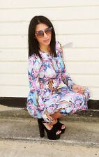 NEW BOUTIQUE LONG SLEEVED BRIGHT SUMMER PRINTED CROP TOP SKIRT SET SUIT 8 10 12