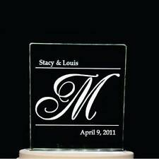 Personalized Simple Initial & Names Wedding Cake Topper Optional LED Light Base