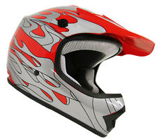 Youth Red Silver Flame Motocross Dirt Bike Off-Road ATV MX Helmet~S, M, L