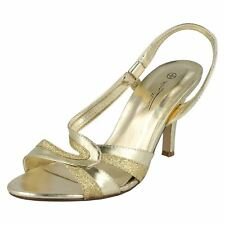 F10158-Ladies Anne Michelle Gold&Glittery Sling Back Heels