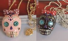 N414 BETSEY JOHNSON Exquisite Cute Pink Black Skull Halloween Necklace US