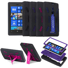 For Nokia Lumia 925 Hybrid Hard Soft Impact Case Cover Skin w/ Stand Black Color