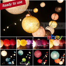 35 COTTON BALL FAIRY STRING LIGHTS PARTY PATIO CHRISTMAS Bedroom WEDDING DECOR
