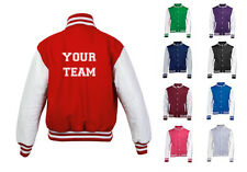 NEW MENS WOMENS KIDS PERSONALISED YOUR TEAM BACK TEXT COAT VARSITY JACKET