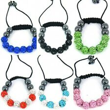 Kids Shamballa Crystal Bracelet Bling Disco Small Baby Ball Friendship Gift