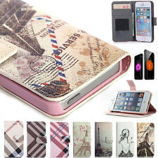 Leather Card Holder Pouch Hard Cover Wallet Hybrid Case For iPhone 5 5S/4s / 6