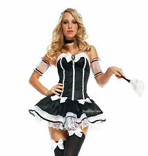 SeXy FRENCH MAID COSTUME Mini Dress BLACK WHITE Strapless SATIN BOWS Tulle 5 Pc