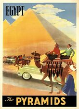 Camel Egypt The Pyramids World Tourism Travel Trip Vintage Poster Repro FREE S/H