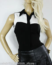 Karen Millen Sleeveless Colour Block Soft Fabric Shirt Collar Blouse Top £100