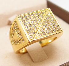 CZ Iced Out AAA Ring HIP HOP 18K Yellow Gold Filled Glint Bling Ring R49 9#-12#