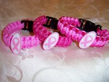 1 paracord bracelet 8 inch BREAST CANCER AWARENESS ---Choose your COLOR