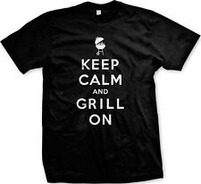 Keep Calm And Grill On BBQ Summer Cookout Pig Cow Steak Party New Mens T-shirt