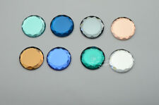 80 PCS 30mm Round Mirror Glass Faceted Glass Flat Back Jewels