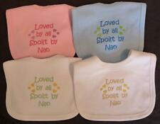 Loved By All Spoilt By Nan Baby Bib Blue Pink Boy Girl Babies Clothes Funny Gift