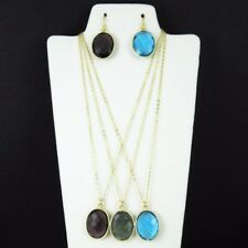 "Bezel Gemstone Oval Pendant Necklace & Earrings-Gold Plated-All Stones (16-24"")"
