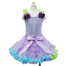 Lavender Blue Pettiskirt Rhinestone 1st Birthday Tank Top Ariel Party Dress Tutu