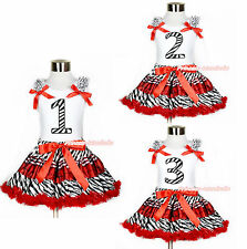 Zebra Birthday 1ST 2ND 3RD White Top Zebra Red Black Plaid Girl Skirt Set 1-8Y