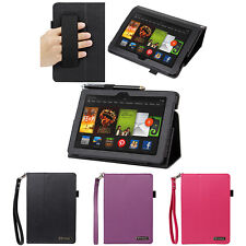 """Leather Folio Folding Stand Case w/ Handstrap For 2013 Kindle Fire HDX 7"""" Tablet"""