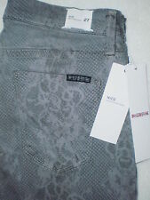 Hudson Nico Mid Super Skinny Stretch Gray Lace Print Jeans Size 27 29 New $199