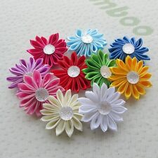 10pcs 4CM Ribbon Flowers Bows Roses Craft Sewing Appliques Wedding Decor  ZXT51