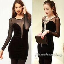 Women Sexy Sheer Bandage Bodycon Clubwear Party Cocktail Short Mini Pencil Dress
