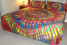 Hippie Tie dye tapestry Full King bed Wamsutta Egyptian Cotton sheet set bedding