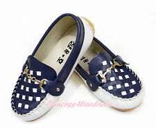 Dark Navy Blue White Plaid Metal Buckle Kids Girls Slip On Deck Boat Shoes 818