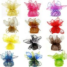 10 Designer Organza Fabric Gift Bags Pouches Party Favor Gifts Packaging