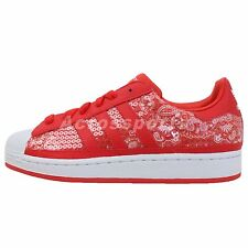 Adidas Originals Superstar 2 II W Red Sequins White Womens Casual Shoes