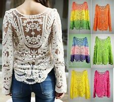 Semi Sheer Women Sleeve Embroidery Floral Lace Crochet T-Shirt Top Blouse