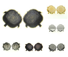 Empty Setting Earrings Hand Set Stones 12mm Square Stud 3 Pairs - Choose Finish